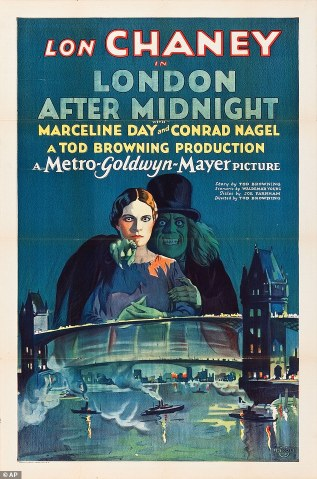 """This undated photo courtesy of Heritage Auctions shows the movie poster from the 1927 film """"London after Midnight."""" The poster for the film starring Lon Chaney, has sold for $478,000, making it the most valuable movie poster ever sold at public auction. Heritage Auctions in Dallas announced Monday, Nov. 24, 2014, that it is the only poster known to exist for the film in which Chaney, a star of early cinema, appeared as a vampire. (AP Photo/Courtesy of Heritage Auctions)"""