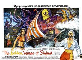THE GOLDEN VOYAGE OF SINBAD, John Phillip Law, Caroline Munroe, poster art, 1974