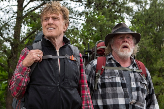 "This photo provided by Broad Green Pictures shows, Robert Redford, left, as Bill Bryson, and Nick Nolte as Stephen Katz, in the film, ""A Walk in the Woods."" Redford co-stars with Nolte and Emma Thompson in the movie which releases in U.S. theaters on Sept. 2, 2015. (Frank Masi, SMPSP/Broad Green Pictures via AP)"