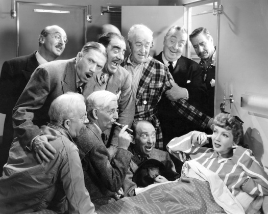 The Palm Beach Story (1942) Directed by Preston Sturges Shown clockwise from upper left: Sheldon Jett, Victor Potel, Dewey Robinson, Arthur Stuart Hull, Robert Greig, Robert Warwick, Claudette Colbert, Roscoe Ates, Jimmy Conlin, Chester Conklin